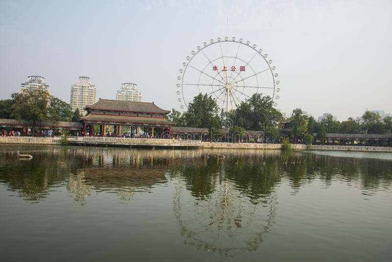 Azië China, Tianjin, waterpark, Lakeview, paviljoen, Galerij stock foto's