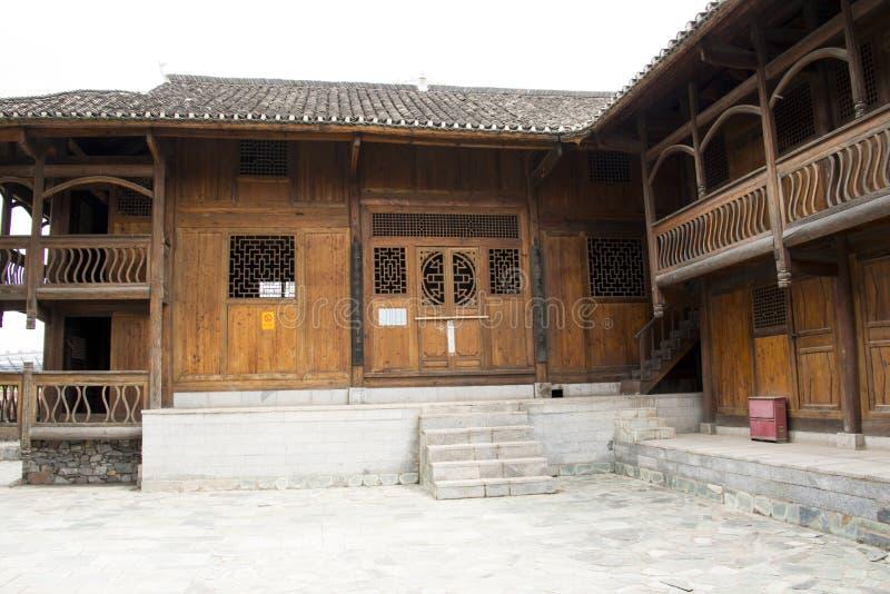 Azië Chinees, de Yuans van Peking, China Minzu, Tujia-nationaliteit, houten vloer royalty-vrije stock afbeelding