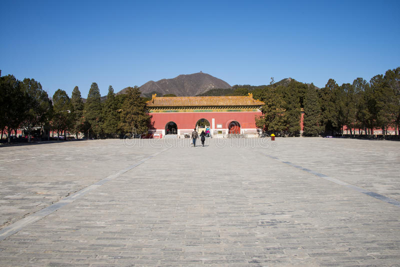 Azië Chinees, Peking, het toneelgebied van Ming Dynasty Tombs, de poort ŒMausoleum van Dinglingï ¼ royalty-vrije stock foto