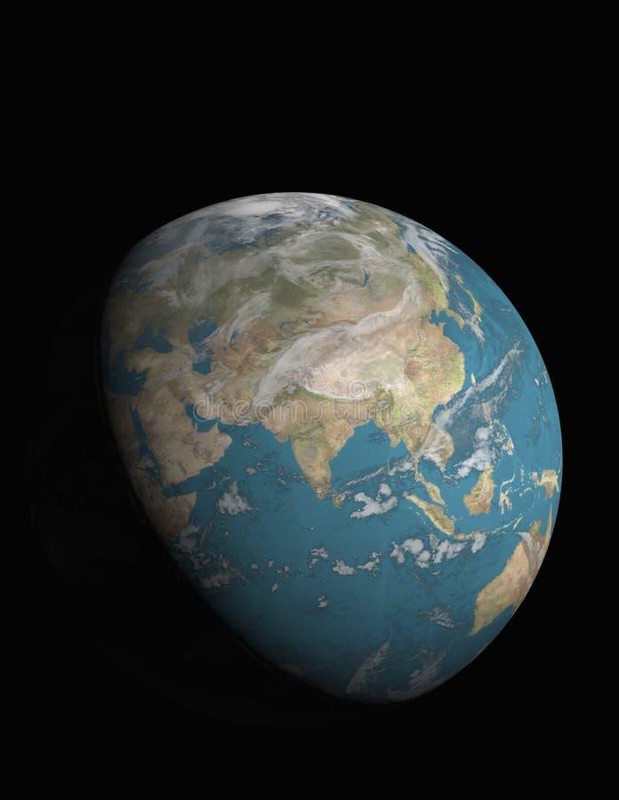 Azië en 3/4 verlichte Aarde royalty-vrije illustratie