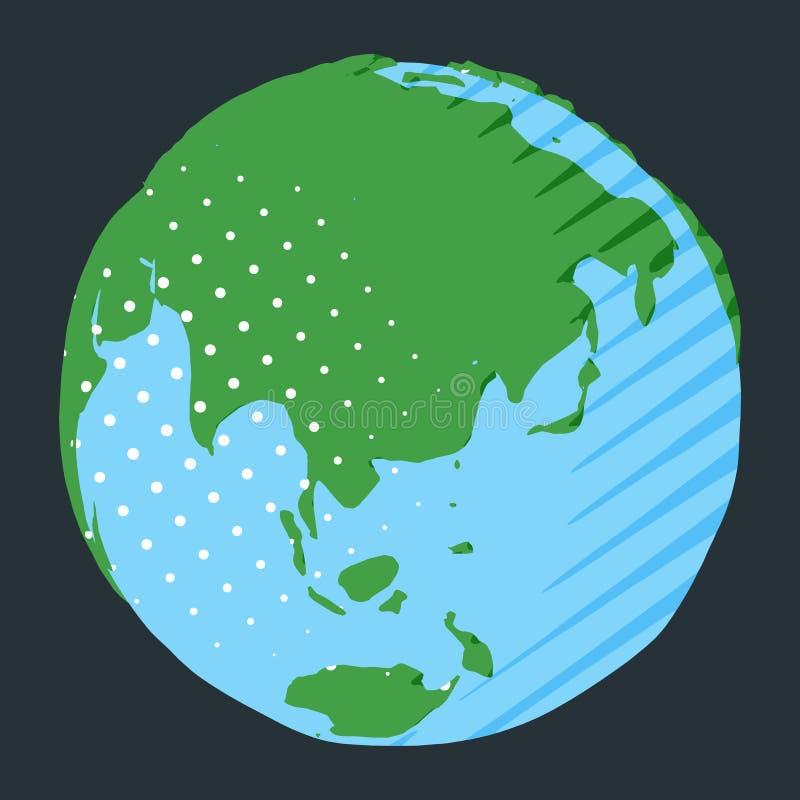 Azië en Australië op bol met groen land en blauw water vector illustratie