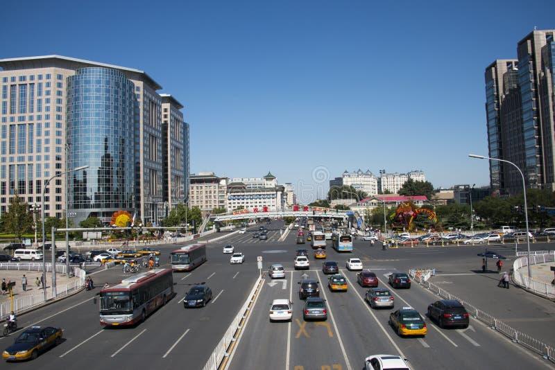 Azië en China, Peking, stadsverkeer, kruispunten, royalty-vrije stock afbeelding