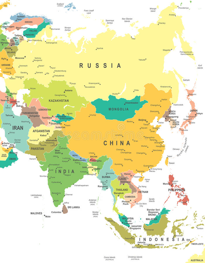 Azië - kaart - illustratie stock illustratie