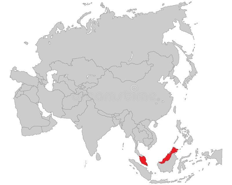 Azië - Politieke Kaart van Azië stock illustratie