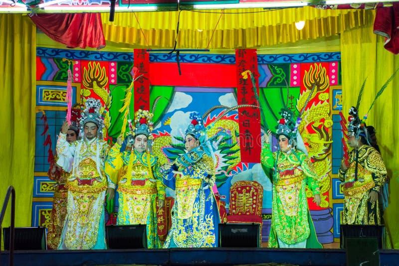 Azië/Thailand - 28 augustus 2019 Chinese Opera Actress Uitvoerende kunstenaars maken backstage Traditionele culturele en Aziatisc stock fotografie