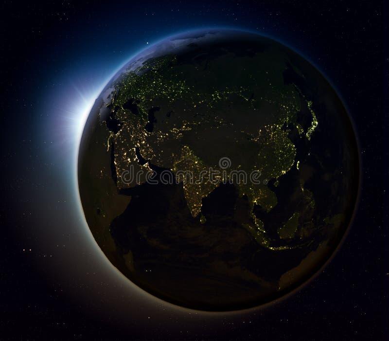Azië van ruimte bij nacht vector illustratie
