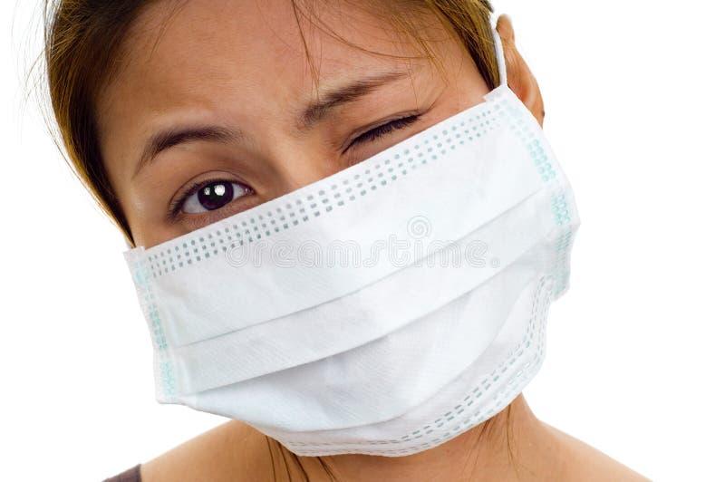 Aziaat met beschermend masker royalty-vrije stock afbeeldingen