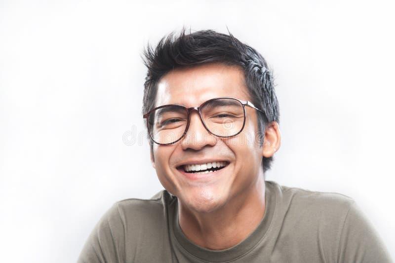 Aziaat met nerdy glimlach royalty-vrije stock foto