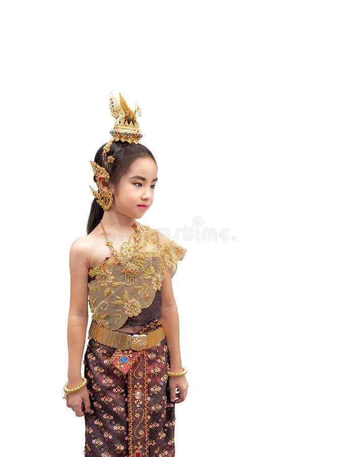 Aziaat weinig jong geitjemeisje kleedt de Thaise traditionele kleding, Nationa stock foto's