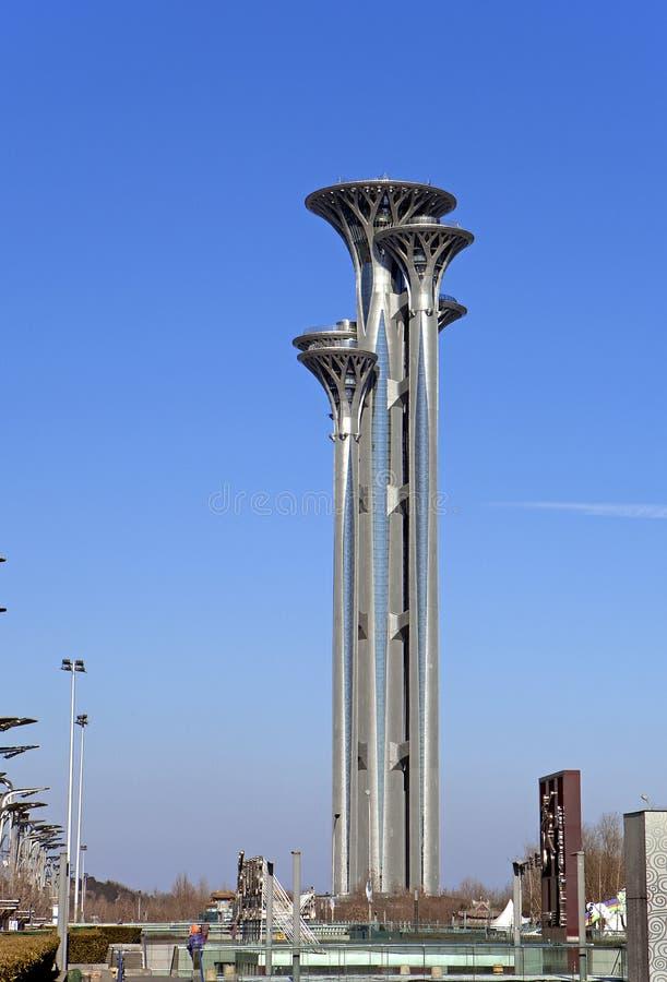 Aziatisch China, Peking, Olympisch Park, watchtower stock foto