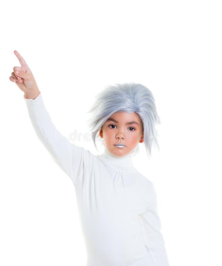 Aziatisch futuristisch jong geitjemeisje met grijs haar royalty-vrije stock afbeelding