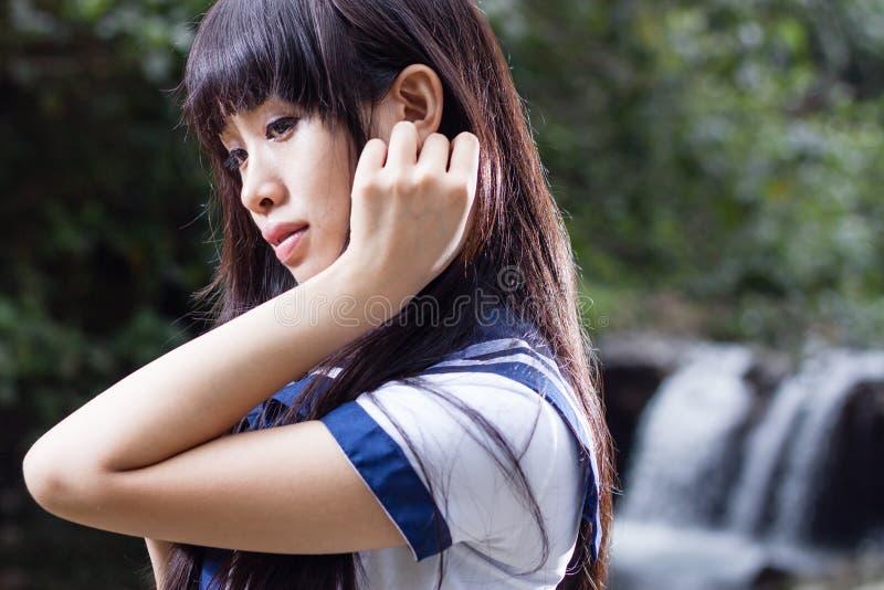 Aziatisch hoger hoog schoolmeisje royalty-vrije stock foto's