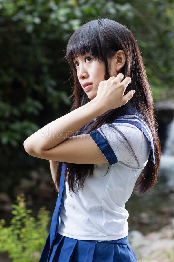 Aziatisch hoger hoog schoolmeisje royalty-vrije stock afbeelding