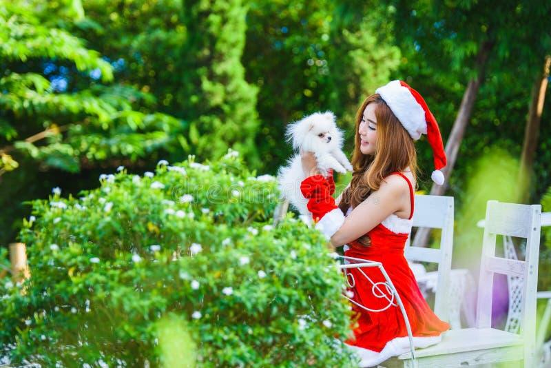 Aziatisch Kerstmanmeisje met puppy stock fotografie