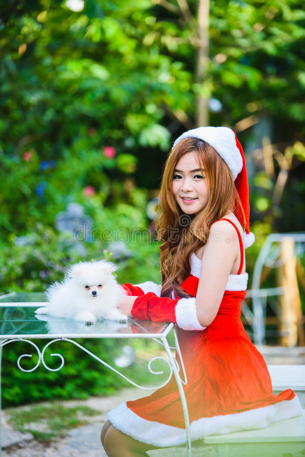 Aziatisch Kerstmanmeisje met puppy stock afbeeldingen