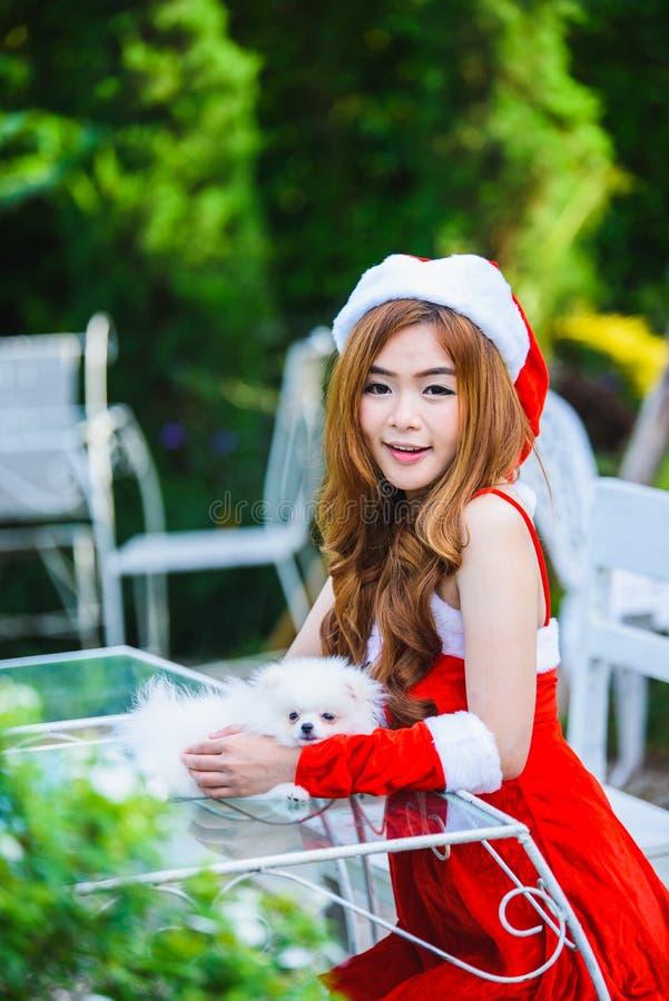 Aziatisch Kerstmanmeisje met puppy royalty-vrije stock afbeelding