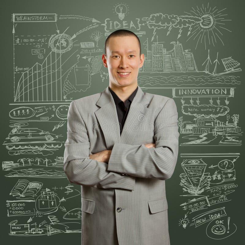 Aziatisch mannetje in kostuum stock afbeelding