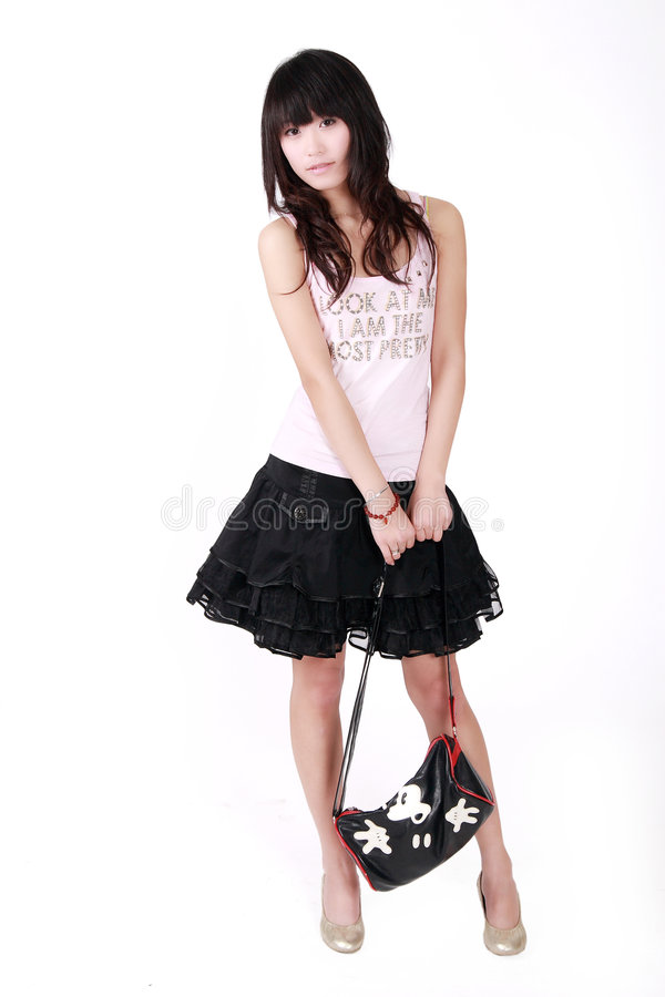 Aziatisch Meisje Met Handtas Stock Foto
