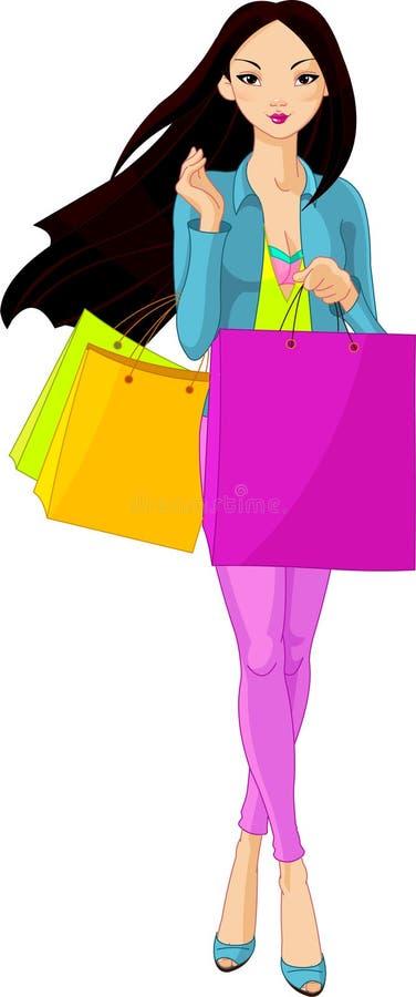 Aziatisch Meisje met het winkelen zakken vector illustratie