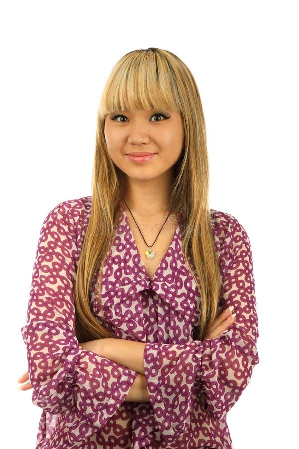 Aziatisch meisjesportret isolated.jpg stock fotografie
