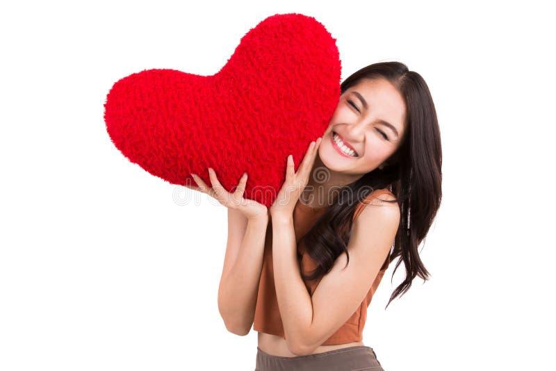 Aziatisch mooi meisje en een rood hart royalty-vrije stock foto