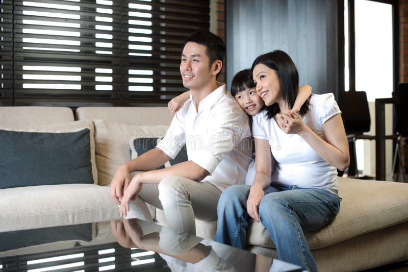Aziatisch Paar met een dochter stock foto