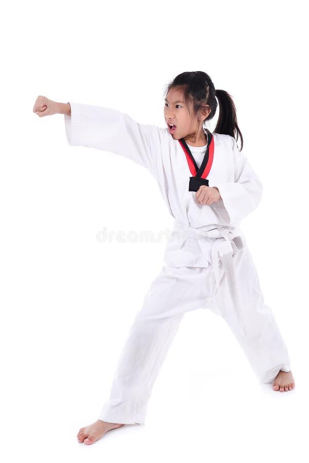 Aziatisch taekwondomeisje met achtergrond royalty-vrije stock foto's