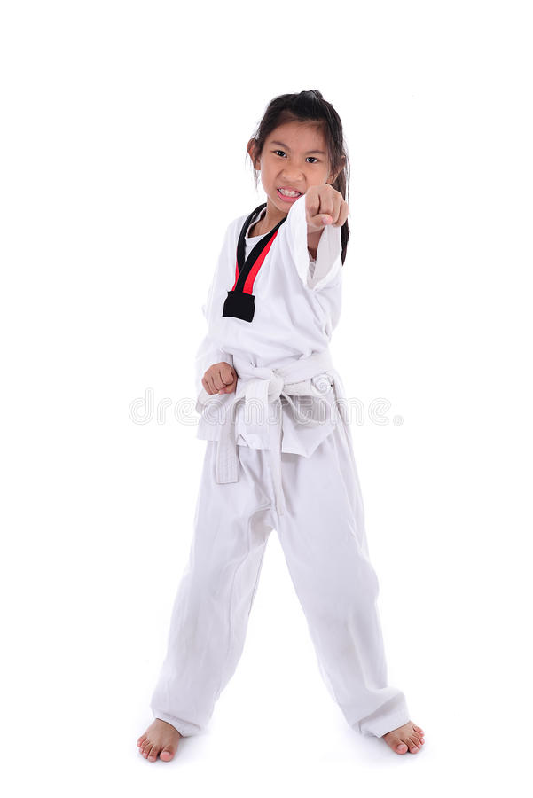 Aziatisch taekwondomeisje met achtergrond stock foto's