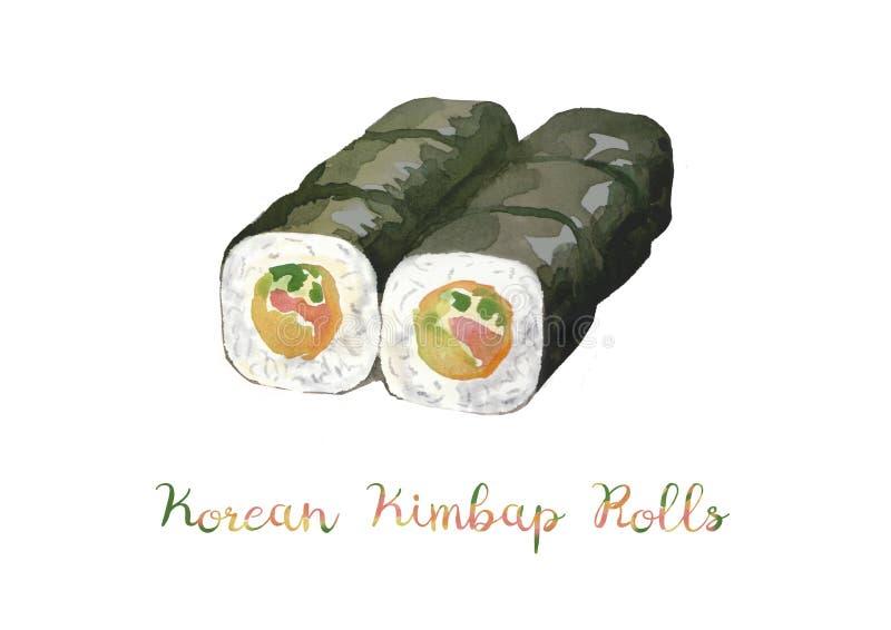 Aziatisch Voedsel Waterverfillustratie van kimbap, Koreaans broodje royalty-vrije stock foto's