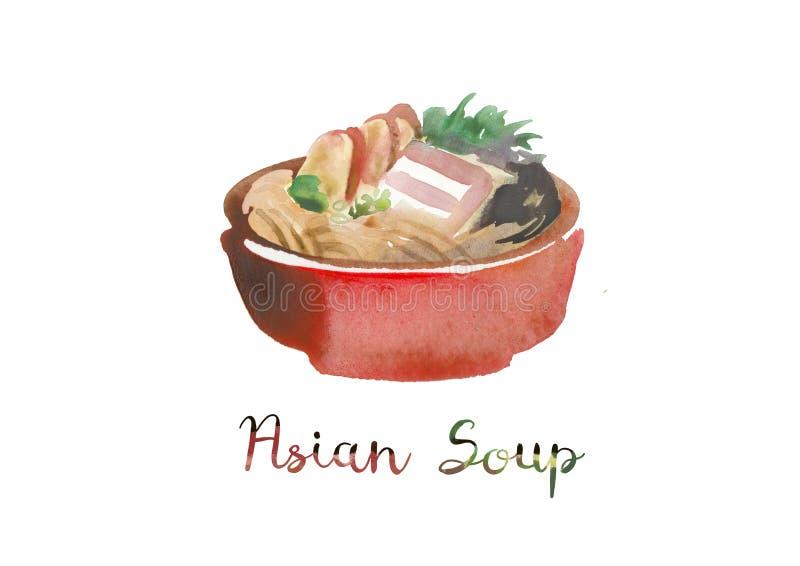 Aziatisch Voedsel Waterverfillustratie van soep in kom stock foto