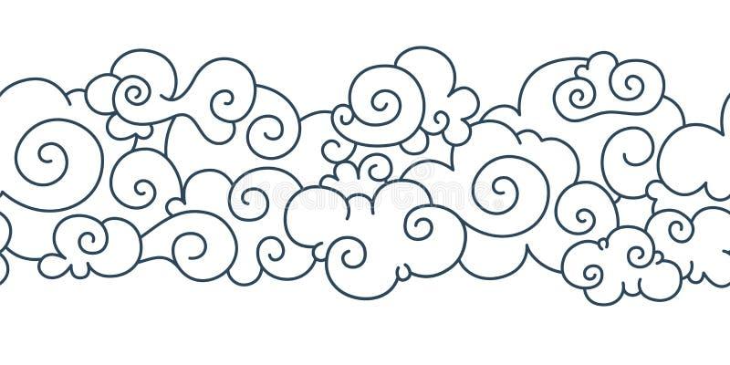 Aziatisch wolkenpatroon Chinese Japanse oosterse het ornamentelementen van de grenshand getrokken tibetan hemel Vector decoratiev royalty-vrije illustratie