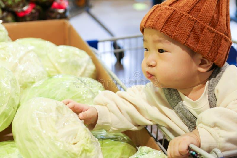 Aziatische aanbiddelijke baby die kool in boodschappenwagentje kiezen royalty-vrije stock afbeeldingen