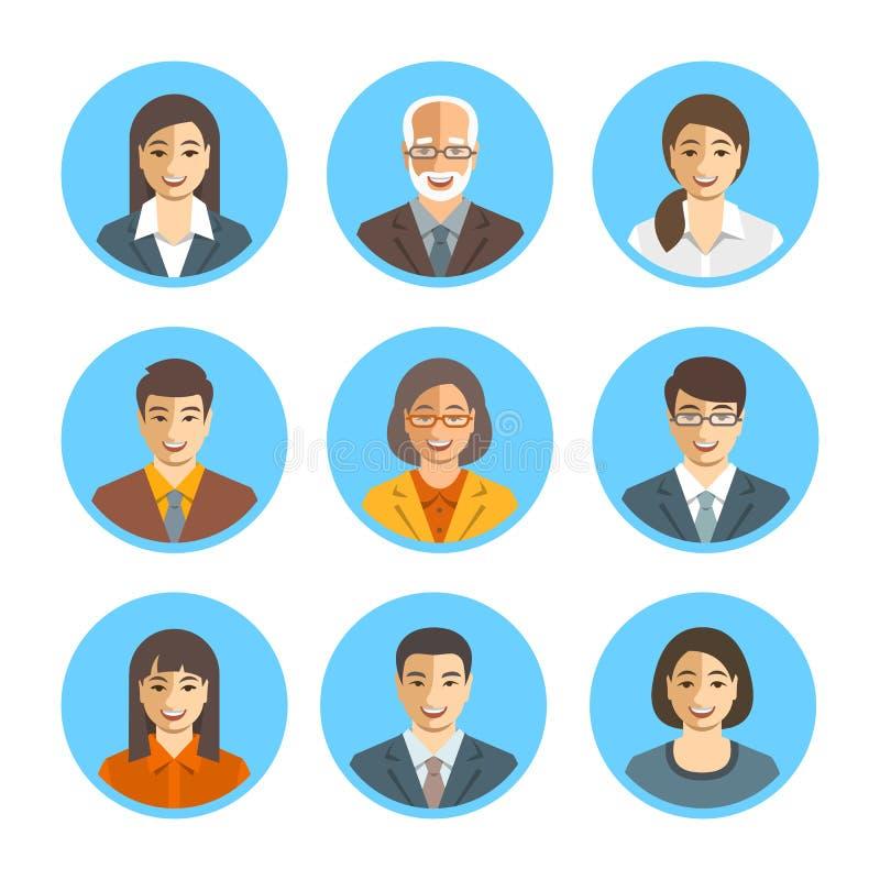 Aziatische bedrijfs geplaatst mensen eenvoudige vlakke vectoravatars stock illustratie