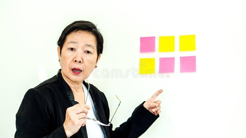 Aziatische bedrijfs hogere vrouwen ongelukkige uitdrukking met exemplaar ruimten stock afbeeldingen