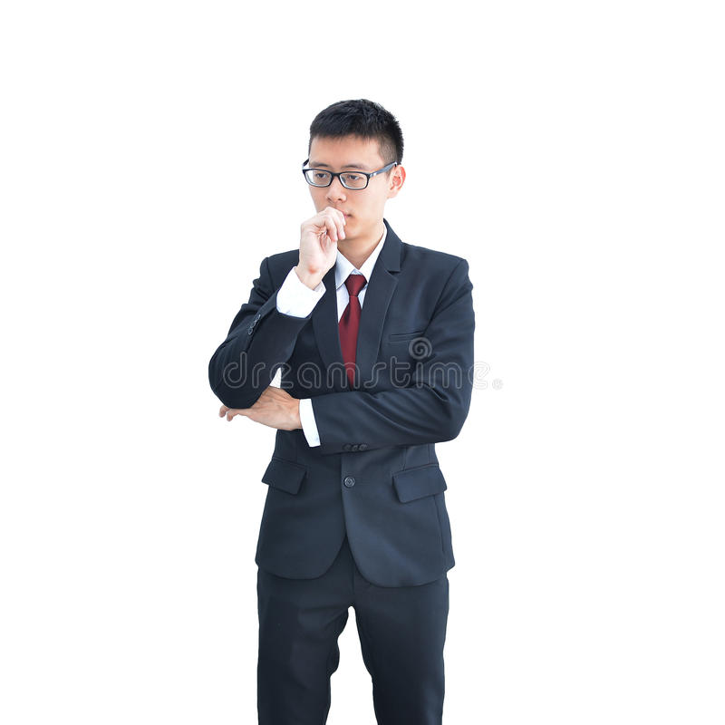 Aziatische Bedrijfsmens denken die die op witte achtergrond, clippi wordt geïsoleerd royalty-vrije stock afbeeldingen