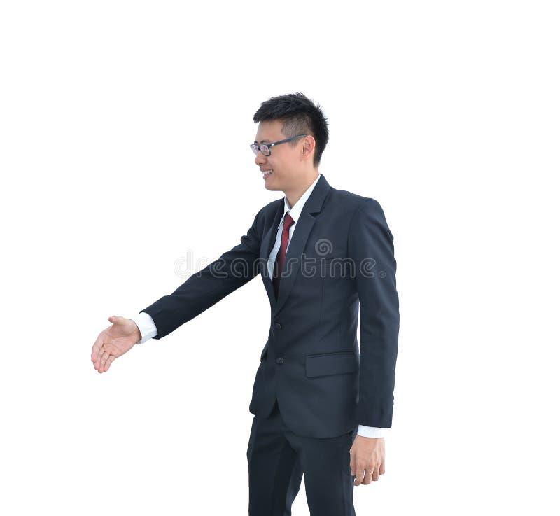 Aziatische Bedrijfsmens die die handschok aanbieden op witte backgro wordt geïsoleerd royalty-vrije stock afbeeldingen