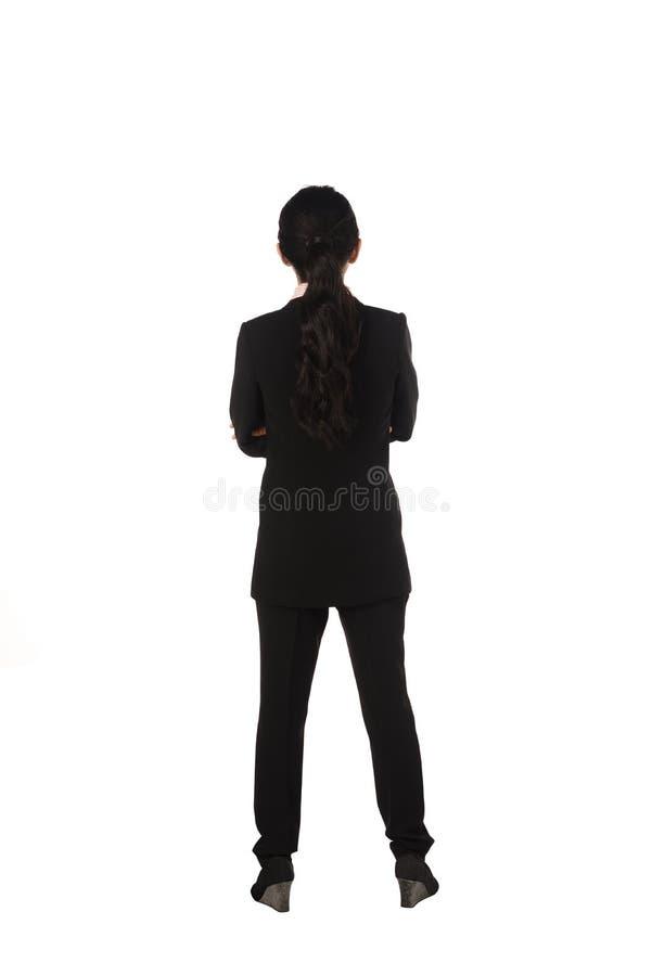 Aziatische bedrijfsvrouw die backview bevinden zich royalty-vrije stock foto's