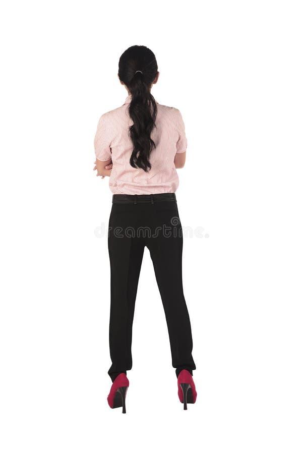 Aziatische bedrijfsvrouw die backview bevinden zich royalty-vrije stock foto