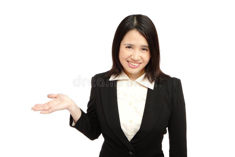 Aziatische bedrijfsvrouwenglimlachen royalty-vrije stock afbeeldingen