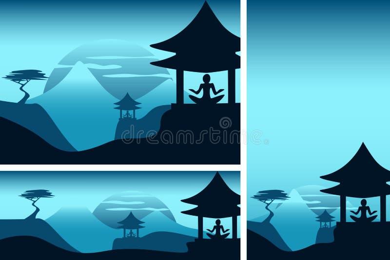 Aziatische bergen met tempel en meditatie stock illustratie