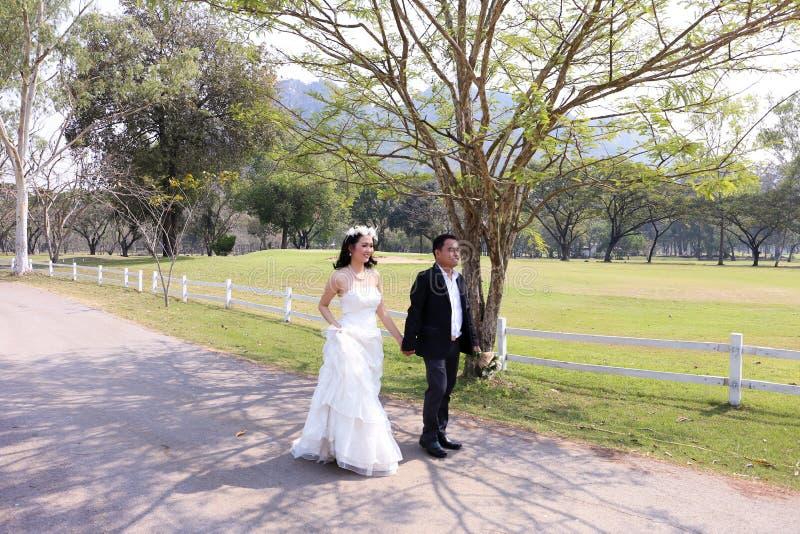 Aziatische bruid en haar bruidegom die onderaan de tuin in de zonneschijn lopen stock fotografie