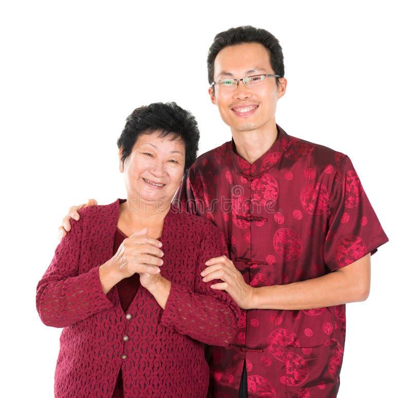 Aziatische Chinese familie zegen stock afbeeldingen