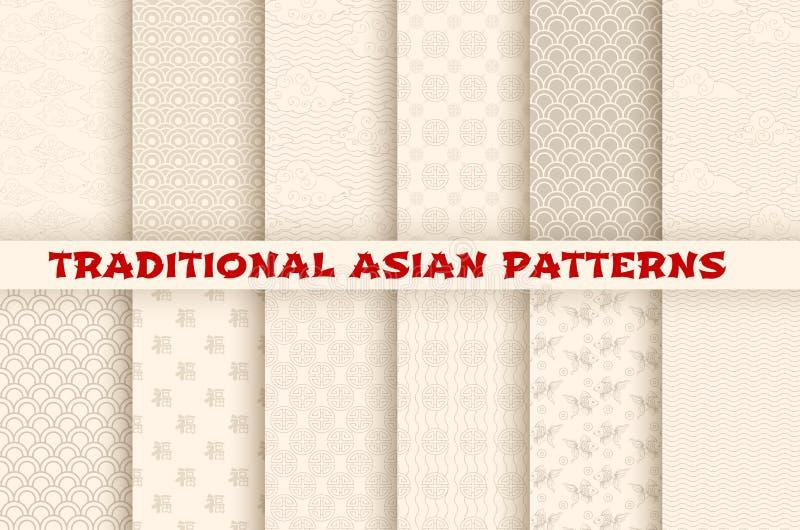 Aziatische Chinese Japanse vector naadloze patronen stock illustratie
