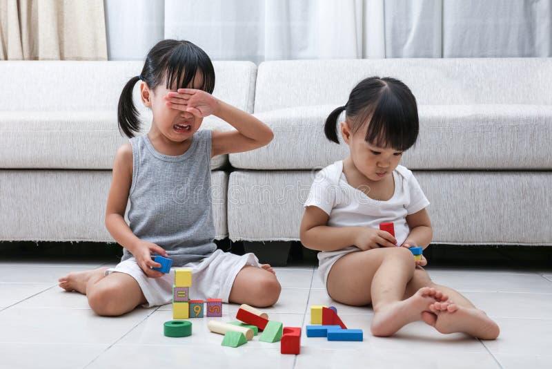 Aziatische Chinese kleine zustersstrijd voor blokken stock foto