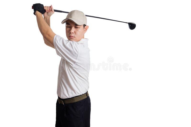 Aziatische Chinese Mensen Slingerende Golfclub voor het schot royalty-vrije stock afbeeldingen