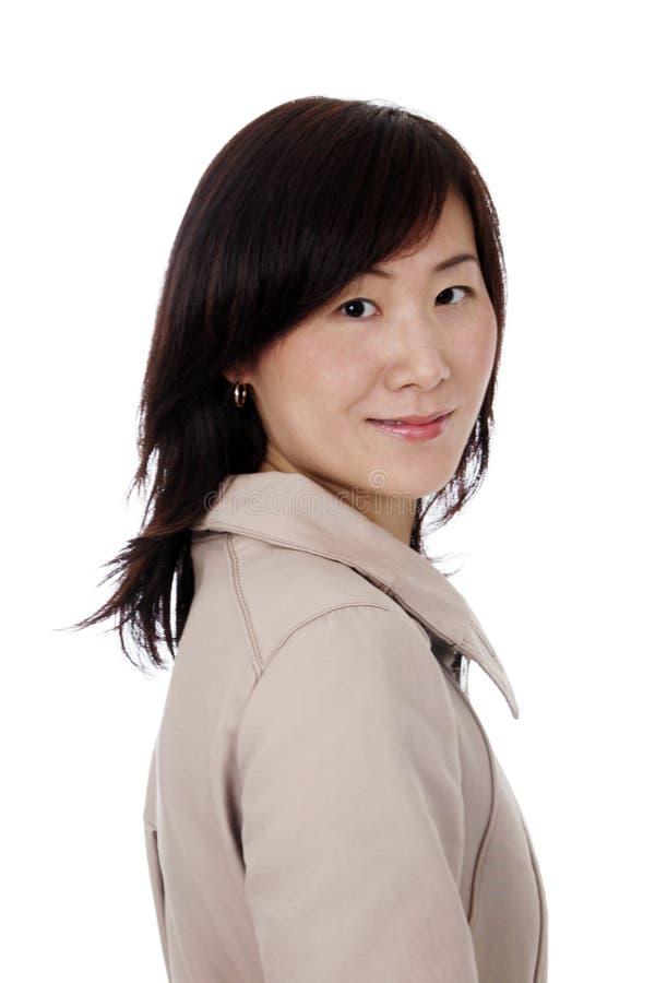Aziatische (Chinese) Onderneemster met Laag royalty-vrije stock afbeeldingen