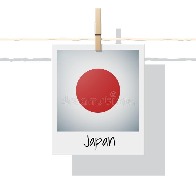 Aziatische de vlaginzameling van het land met foto van de vlag van Japan op witte achtergrond stock illustratie