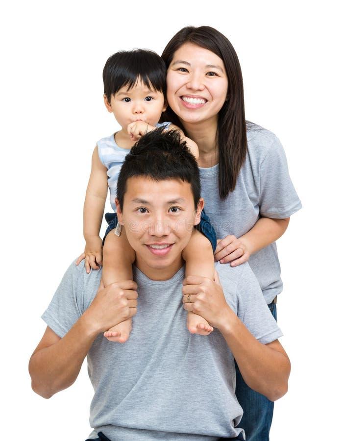 Aziatische familie, babyzoon en jong paar stock foto