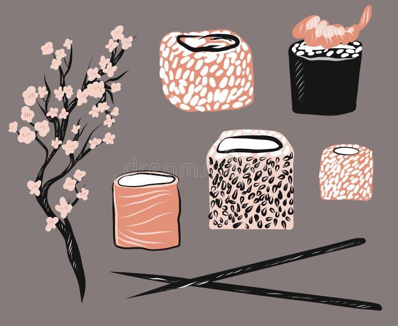 Aziatische fastfood vectorillustratiereeks Ge?soleerde voorwerpen op witte achtergrond Broodjes, stokken, sacura royalty-vrije illustratie