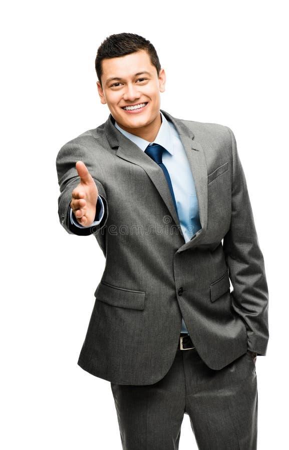 Aziatische gelukkige zakenmanhanddruk royalty-vrije stock foto's